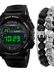 Недорогие -Муж. Спортивные часы Цифровой Черный 30 m Защита от влаги Календарь Секундомер Цифровой На открытом воздухе Новое поступление - Черный Черный / Красный Черный / Синий Один год Срок службы батареи