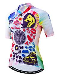 hesapli -JPOJPO Kadın's Kısa Kollu Bisiklet Forması Fuşya Bisiklet Tracksuit Forma Üstler Nefes Alabilir Spor Dalları Polyester Elastane Terylene Dağ Bisikletçiliği Yol Bisikletçiliği Giyim / Mikro-Esnek