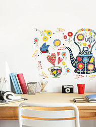 Недорогие -стикеры на стену с цветным чайником - стикеры на стенах для животных / кабинет / ландшафтный кабинет / столовая / кухня