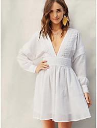 cheap -Women's Basic A Line Dress - Solid Colored White M L XL
