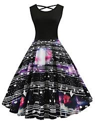cheap -Women's Vintage Street chic Little Black Dress - Floral Print Black L XL XXL