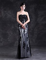 저렴한 -시스 / 칼럼 끈없는 스타일 바닥 길이 튤 / 스팽글 드레스 와 아플리케 으로 LAN TING Express