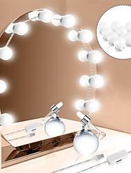 Недорогие -1set привело косметическое зеркало 10bulbs usb зарядка составляют зеркало лампа регулируемая яркость света макияж зеркало