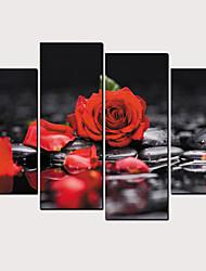 Недорогие -С картинкой Роликовые холсты - Цветочные мотивы / ботанический Классика Modern 4 панели Репродукции