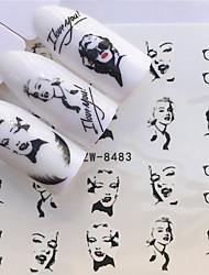 levne -1 pcs Nálepky Bílá série nail art manikúra pedikúra Mini styl / Bezpečnost / Ergonomický design stylové / Módní