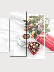 Недорогие -С картинкой Роликовые холсты - Продукты питания Цветочные мотивы / ботанический Классика Modern 4 панели Репродукции