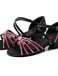 Недорогие -Девочки Танцевальная обувь Сатин Обувь для латины Пряжки / Кристаллы / Crystal / Rhinestone На каблуках Толстая каблук Зеленый / Розовый и белый / Темно-синий / Выступление