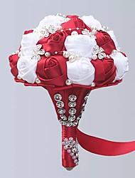 Недорогие -Свадебные цветы Букеты Свадьба / Свадебные прием Шёлковая ткань рипсового переплетения / С бусинами / Алюминиево-магниевый сплав 11-20 cm