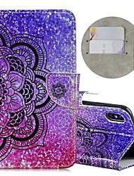 Недорогие -Кейс для Назначение Apple iPhone XS / iPhone XR / iPhone XS Max Кошелек / Бумажник для карт / Защита от удара Чехол Сияние и блеск / Цветы Твердый Кожа PU