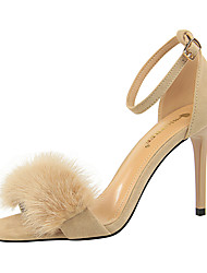 cheap -Women's Sandals Stiletto Heel Open Toe PU(Polyurethane) Classic / Vintage Summer Khaki