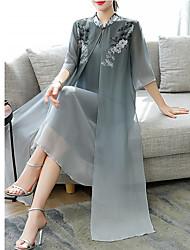 Недорогие -Жен. Классический Прямое Платье - Цветочный принт Средней длины