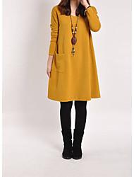 Недорогие -Жен. Однотонный Длинный рукав Пуловер, Круглый вырез Осень / Зима Светло-коричневый / Желтый / Серый M / L / XL