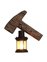 Недорогие -промышленный деревенский настенный светильник форма топора деревянный настенный светильник металлическая осветительная конструкция прозрачное стекло фонарь декадная тень 1-светодиодный настенный