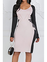 Χαμηλού Κόστους -Γυναικεία Εφαρμοστό Φόρεμα Δαντέλα Ως το Γόνατο Βαθύ V