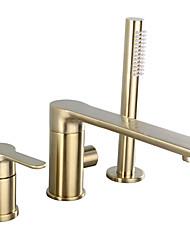 Недорогие -Смеситель для душа / Смеситель для ванны - Современный Матовое золото Разбросанная Керамический клапан Bath Shower Mixer Taps / Одной ручкой три отверстия