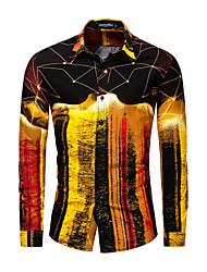 Недорогие -Муж. Размер ЕС / США - Рубашка Классический Галактика Золотой / Длинный рукав