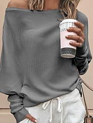 Недорогие -Жен. Однотонный Длинный рукав Свободный силуэт Пуловер, С открытыми плечами Черный / Белый / Красный S / M / L