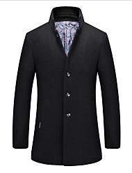Недорогие -Муж. Повседневные Размер ЕС / США Длинная Пальто, Однотонный Воротник-стойка Длинный рукав Шерсть Черный / Темно-серый / Винный