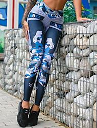 Недорогие -Жен. Классический Леггинсы - С принтом, С принтом Нормальная Темно синий M L XL / Тонкие