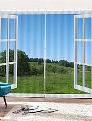 Недорогие -3d цифровая печать декорации полиэстер уединение две панели занавес для кабинета / офиса / гостиной водонепроницаемые пылезащитные декоративные шторы