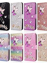 Недорогие -Кейс для Назначение SSamsung Galaxy A5(2018) / A6 (2018) / A6+ (2018) Кошелек / Бумажник для карт / Защита от удара Чехол Бабочка / Сияние и блеск / Цветы Твердый Кожа PU