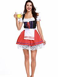 Недорогие -Октоберфест Широкая юбка в сборку Trachtenkleider Жен. Платье баварский Костюм Красный