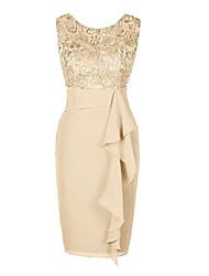 Недорогие -Жен. Большие размеры Классический Тонкие Облегающий силуэт Оболочка Платье - Однотонный До колена