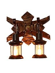 Недорогие -ретро рустикальный настенный светильник деревянный настенный светильник металлическая конструкция прозрачный стеклянный фонарь декадная тень 2-светодиодный настенный бра