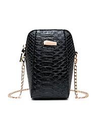 Недорогие -Жен. Молнии PU Мобильный телефон сумка Черный / Коричневый / Лиловый