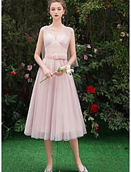 저렴한 -A-라인 V 넥 종아리 길이 튤 신부 들러리 드레스 와 허리끈 / 리본 으로 LAN TING Express
