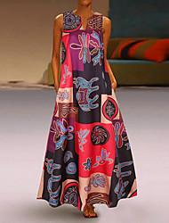 Недорогие -Жен. Большие размеры Свободный силуэт С летящей юбкой Платье - Геометрический принт Глубокий V-образный вырез Макси