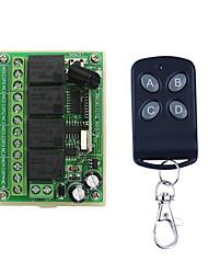 Недорогие -DC12V 4-канальный код обучения переключатель дистанционного управления / 4 кнопки пульта дистанционного управления / светодиодные / двери включения / выключения управления 433 МГц