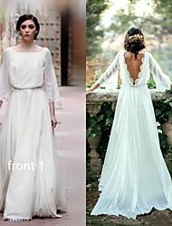 저렴한 -A-라인 바투 넥 스윕 / 브러쉬 트레인 쉬폰 Made-To-Measure 웨딩 드레스 와 으로 LAN TING Express