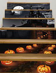 Недорогие -наклейки на пол - ночь на Хэллоуин, тыква, фонарь, замок, стены, наклейки, пейзаж, ботанический, пейзажный кабинет, офис, столовая, кухня.
