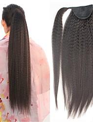 Недорогие -плетение волос Конскиехвостики Женский Натуральные волосы Волосы Наращивание волос Прямой 14 дюймы На каждый день / Черный