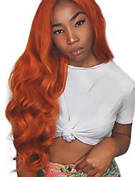 Недорогие -Синтетические кружевные передние парики Волнистый Стиль Свободная часть Лента спереди Парик Оранжевый Искусственные волосы 18-26 дюймовый Жен. Регулируется Жаропрочная Для вечеринок Коричневый Парик