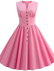 cheap -Women's Basic Chinoiserie A Line Swing Dress - Solid Colored Print Purple Yellow Light Blue L XL XXL