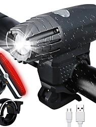 Недорогие -Светодиодная лампа Велосипедные фары Передняя фара для велосипеда задние фонари Велоспорт Водонепроницаемый Литиево-ионный аккумулятор 300 lm Перезаряжаемая батарея Велосипедный спорт