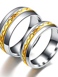Недорогие -Муж. Жен. Кольцо Хвост 1шт Золотой Серебряный Нержавеющая сталь Титановая сталь Круглый Классический Мода Подарок Повседневные Бижутерия Cool