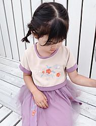 Недорогие -Из двух частей Ниже колена Детское праздничное платье - Полиэфир и хлопок С короткими рукавами Круглый вырез с Вышивка от LAN TING Express