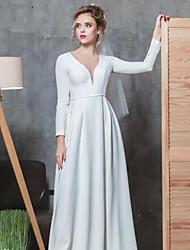 저렴한 -A-라인 V 넥 바닥 길이 스트래치 새틴 Made-To-Measure 웨딩 드레스 와 비즈 으로 LAN TING Express