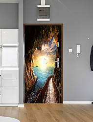 Недорогие -Дверь красоты с видом на океан наклейки для дверей декоративные водонепроницаемые наклейки на двери