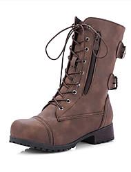 economico -Unisex Stivaletti Heel di blocco Punta tonda PU (Poliuretano) Stivali metà polpaccio Classico Autunno inverno Nero / Marrone