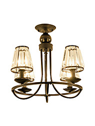 Недорогие -Американский деревенский хрустальные люстры черный крытый деко свет подвесной светильник 4 лампы спальня гостиная прихожая потолочный светильник полу полных круг формы