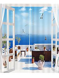 Недорогие -3d цифровая печать природа вдохновила уединение две панели полиэфирные шторы для спальни гостиной водонепроницаемые пылезащитные декоративные высококачественные шторы