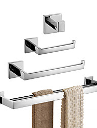 Недорогие -нержавеющая сталь, 4 предмета, набор для ванной комнаты, настенные держатели для ванной, набор полотенец, полированная отделка