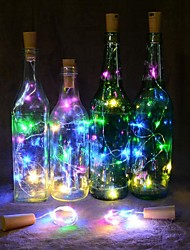 Недорогие -2м Гибкие светодиодные ленты 20 светодиоды Тёплый белый / Разные цвета Новогоднее украшение для свадьбы / Пробка для бутылок с пробкой из пробки Аккумуляторы 1шт