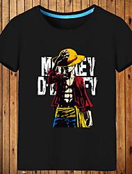 Недорогие -Вдохновлен One Piece Monkey D. Luffy Аниме Косплэй костюмы Японский Косплей футболка С принтом С короткими рукавами Кофты Назначение Муж. / Жен.