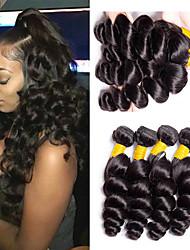 voordelige -6 bundels Braziliaans haar Los golvend Onbehandeld haar Menselijk haar weeft Bundle Hair Een Pack Solution 8-28inch Natuurlijke Kleur Menselijk haar weeft Geurvrij Klassiek Gemakkelijke dressing