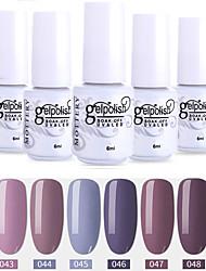 economico -6 pezzi colore 43-48 xyp soak-off uv / led smalto gel per unghie colore solido lacca per unghie set